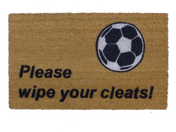 black soccer cleats wipe clean house football sports fan sahm doormat eco friend