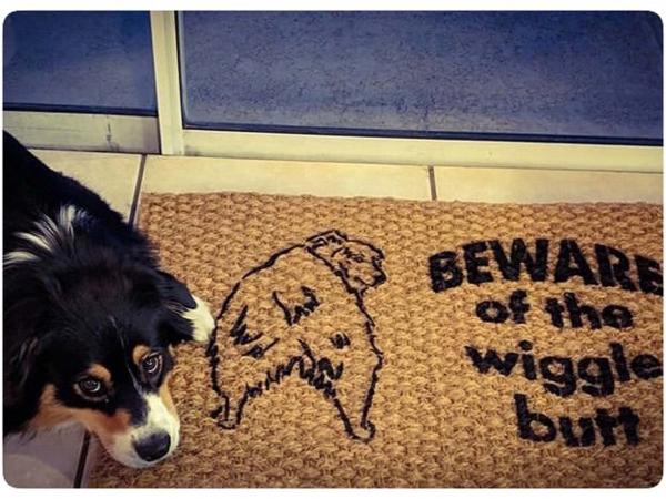 Beware of the Wiggle Butt ™ Australian Shepard doormat