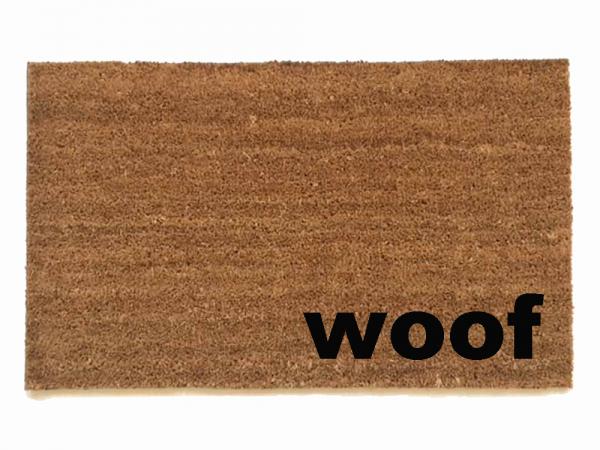 woof speak dog doormat