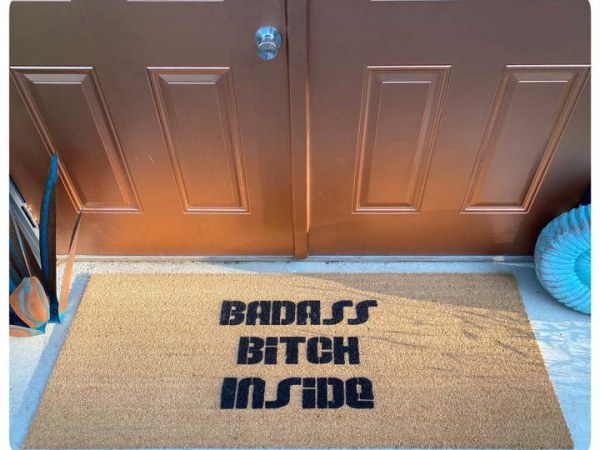 Badass Bitch Inside™ doormat ladyboss bachelorette party decor