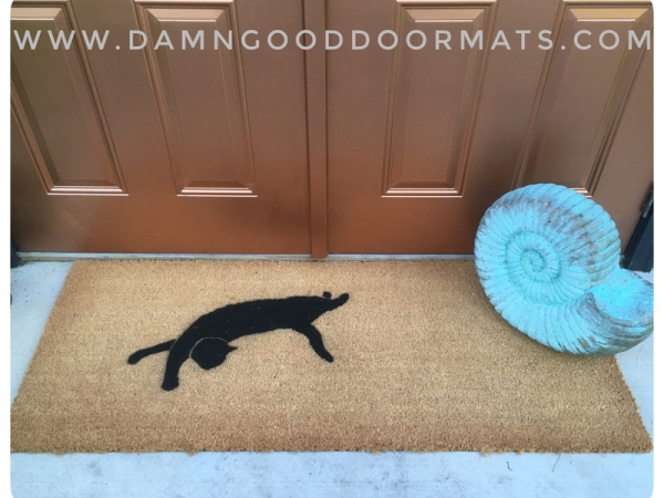 Doublewide XL Witch familiar Black cat silhouette doormat Halloween