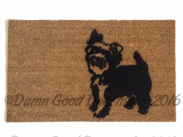 Yorkie, yorkshire terrier  guard dog funny doormat