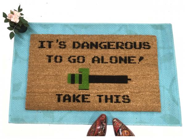 It's dangerous to go alone, take this nerd house doormat, Legend of Zelda