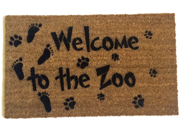 Welcome to the Zoo doormat baby dog and cat footprints