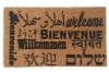 Welcome in all languages doormat in French, Spanish, Hebrew, Arabic, Italian,