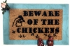 beware of chickens attack barnyard doormat