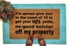 Keister off my property Home Alone doormat