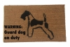 Wire Terrier Warning: Guard dog on duty funny doormat