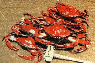 crab doormat RED steamed Maryland blue crabs