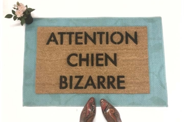 Attention Chien Bizarre Beware of Dog French doormat