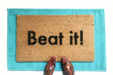Beat it! Funny Micheal Jackson go away mat from Damn Good Doormats