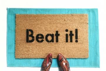 Beat it! Funny Micheal Jackson go away mat from Damn Good Doormats