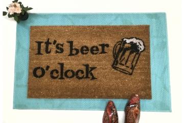 Beer o'clock funny drunk doormat