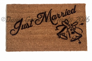 Just Married wedding bells doormat