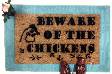beware of chickens attack barnyard doormat