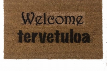 Bilingual English tervetuloa Finnish-  welcome in doormat