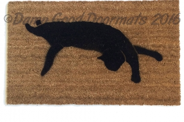 Black cat silhouette Halloween doormat