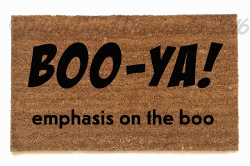 Boo ya! Emphasis on the boo. Funny Ghostbusters halloween doormat