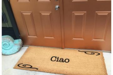 doublewide extra large french doors Ciao Italian welcome doormat