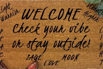 custom reiki good vibe doormat
