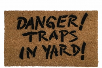 Danger TRAPS in yard Walking Dead Zombie Halloween doormat