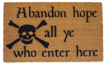 Abandon hope all ye who enter here Dante skull and bones doormat