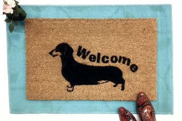Daschund Hand Painted door mat