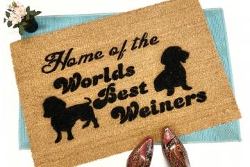 home of World's best weiner daschund dog lover doormat