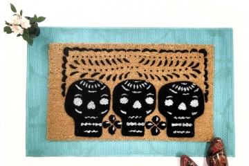Halloween 3 skulls Mexican Papel Picado Day of the Dead doormat1