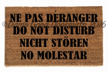 Do not disturb in Spanish, French, English and German. That should getthe messag