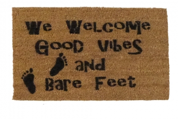 We welcome Good Vibes, Bare Feet (: Sumer boho style doormat