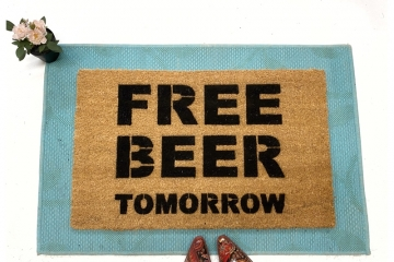 FREE BEER tomorrow funny rude damn good doormat