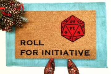 Dungeons and Dragons, Roll for initiative RPG doormat 20 sided die