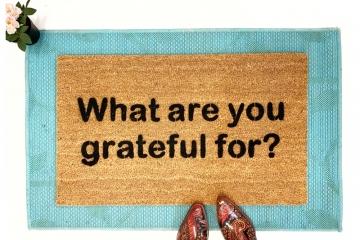 mantra doormat What are you grateful for mantra doormat