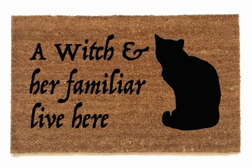 Grey Gardens witch cat familiar live here doormat spooky halloween outdoor decor