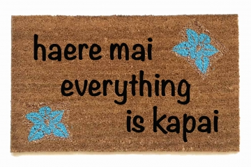 Hawaiian tiki welcome mat Haere mai everything is kapai door mat- You are here a