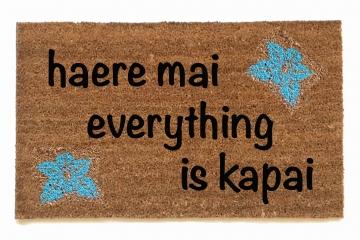 Hawaiian tikiwelcome mat Haere mai everything is kapai door mat- You are here a