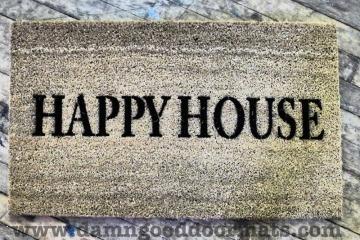 happy house welcome cosy home doormat