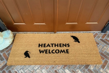 Heathens Welcome doormat with Hugin & Munin Ravens Norse mythology Odin
