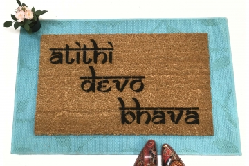 Hindu atithi devo bhava Guests are God Welcome Yoga mat