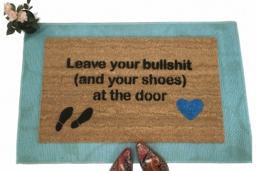 Leave your bullshit (and your shoes) blue heart doormat