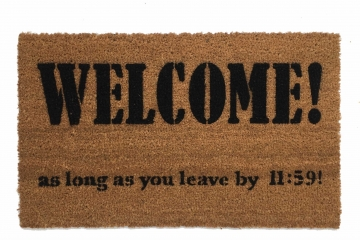 Leave by Midnight funny, go away doormat