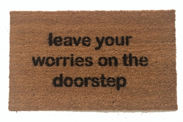 Leave your worries on the doorstep zen mantra housewarming gifts doormat