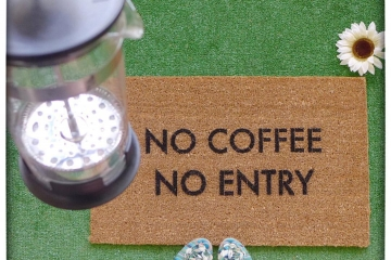 No coffee, no entry™ funny rude go away doormat
