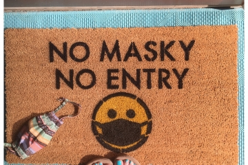 No Masky No Entry doormat covid 19 coronavirus