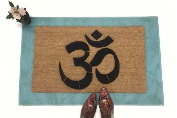 Om symbol mani padme hum  Yoga mat doormat India