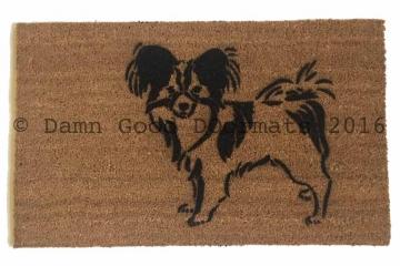 Papillion dog pet portrait doormat