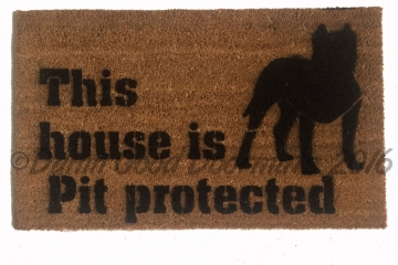 This house is Pit protected doormat safety love dog door mat