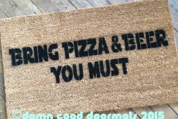 Star Wars Yoda Bring pizza and beer or wine, you must funny nerd doormat