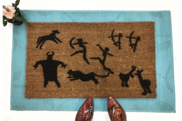 Customizable Prehistoric Cave painting family funny doormat